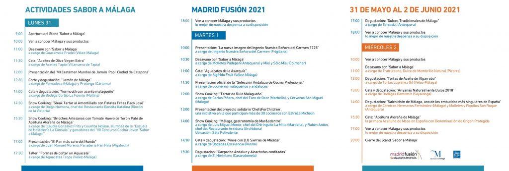 Programa actividades Sabor a Málaga en Madrid Fusión 2021